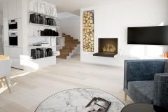 Dom Oliwka - wizualizacja - salon